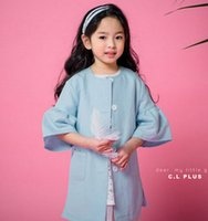 Wholesale Brand New Kicks - Children fashion outwears 2017 new autumn girls cotton kick pleat seven-minute sleeves single breasted windbreaker kids loose clothing C0419