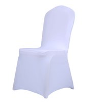Wholesale Black Polyester Banquet Chair Covers - 1pcs White Black Chair Covers Universal Stretch Polyester Party Weddings Dining Kitchen Conference Banquet Chair Cover