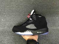 marca de zapatos v al por mayor-Venta al por mayor nueva 5 V OG negro plata metálica HOMBRES zapatillas de baloncesto 5s mujeres zapatos deportivos zapatillas de marca talla 36-47