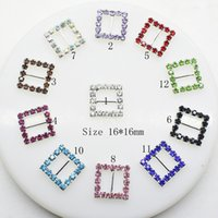 ruban strass boucles curseur achat en gros de-100pcs 10mm Inner Bar Square Wedding Invitation Cristal Clair Strass Boucle Diamante Ruban Slider