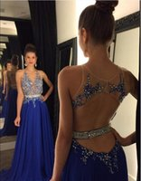 Wholesale Modest Evening Gowns For Women - Modest Beaded Sheer Prom Dresses Royal Blue Backless Formal Evening Gowns For Women A-Line Chiffon Party Dress