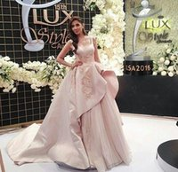 Wholesale elegant big size dress - 2017 Elegant Ball Gown Evening Dresses with Square Neckline Overskirt Big train Beaded Embroidery Sequins Organza Mahira Khane Prom Gowns