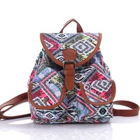 Backpack Style Women Geometric New women Printed canvas Single and double shoulder bag lady fashion casual dual-use backpack female popular purse no235