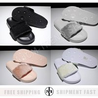 Wholesale Gold Low Platform Shoes - Women Leadcat Rihanna Shoes suede platform gold Slippers Indoor Lady Sandals Girls Fashion Scuffs Pink Black White Grey Fur Slides With Box