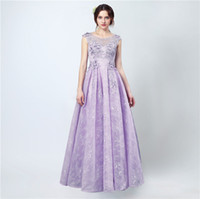 Wholesale Two Piece Purple Prom Dress - Free Shipping Engagement Dresses 2017 Vestido Longo De Renda Scoop Cap Sleeve Lace Prom Dress Long Evening Dresses