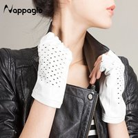 Wholesale Soft Leather Driving Gloves - Wholesale- Nappaglo Hot Sale Guantes Mujer Real Adult Shion Sheepskin Gloves Soft Suede Fingerless Punk Rock Car Driving Leather Mittens