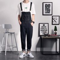 Wholesale Designer Jumpsuit - Wholesale-One Piece Black Jean Jumpsuits For Men Straight Casual Long Mens Denim Bib Overalls Men Fashion Designer Suspender Trousers