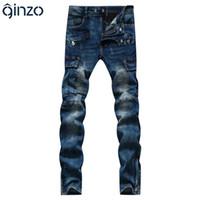 Wholesale Jeans Cargo Capris - Wholesale- Men's casual pleated stretch denim biker jeans for moto Pockets cargo pants Slim long trousers
