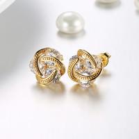 pequeñas coronas de oro al por mayor-Band New Crown Wedding Stud Pendiente Joyería Oro Plata Rose Gold Color Pendientes Para Mujer Triple Color Small Hot Sale Earrings