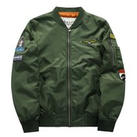 Wholesale Large Mens Coats Jacket - Mens Pilot Jacket Casual Coats Bommer Flight Flying Jackets Clothes ASST Air Force One MA01 Brand Clothing Large Size 5xl 6xl