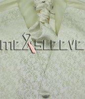 terno vestido de marfim para homens venda por atacado-Marfim dos homens deixa o terno Tuxedo Dress Vest ascot tie Lenço Set