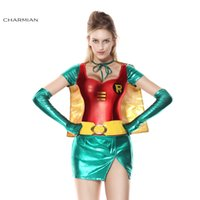 Wholesale Sexy Woman Robin Costume - Charmian Halloween Costume for Women Sexy Robin Super Hero Anime Cosplay Carnival Party Fantasias Feminina Para Festa