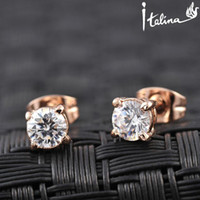 Wholesale Earring Rigant - Italina Rigant Real Rose Gold Plated Stud AAA Zirconia Earrings With Environmental Alloy#RG81270