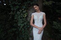 Wholesale Maternity Bottoms - Sexy lace wedding dress off shoulder beading short sleeve backless bottom mermaid court train bridal gowns
