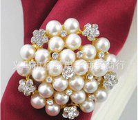Wholesale Wholesale Shower Rings - New flower Imitation pearls gold silver Napkin Rings for wedding dinner,showers,holidays,Table Decoration Accessories 100pc Z535