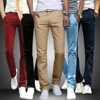 Wholesale Mens Straight Skinny Pants Casual Stretch Slim Fit Solid Track Pants Sweat Pants Trousers Spring Autumn Pants Men s Clothing