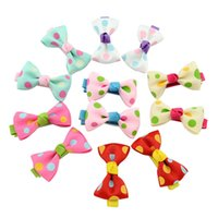 Wholesale Candy Clips - Baby Girls Bow Clips Candy Color Solid  Polka Dot Flower Print Ribbon Bow Hairpin BB Hair Clips for Baby Girls Kids Hair Accessories KFJ88