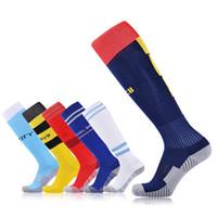 elastik havlu toptan satış-Erkekler Ve Kadınlar Için futbol Çorapları Nefes Havlu Diz Üzerinde Alt Skid Elastik Takım Spor Çorap Çok Renkli Isteğe Bağlı 6ye F