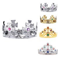 Wholesale Hair Supplies Queens - Children Kids King Queen Princess Tiara Crystal Crown Hairband Headwear For christmas Day Girls Boys Christmas Party hair Supplies gift