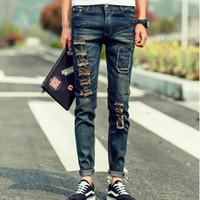 Wholesale New Jeans Designs For Men - Wholesale-2016 New Fashion Men Patchwork Jeans Skull Famous Brand Design Slim Fit Ripped Hole Denim Pants For Men