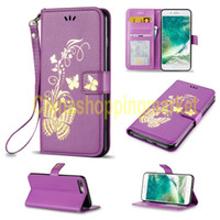 Wholesale 5c wallet cases - Bronzing printing leather wallet Shell Butterfly For iPone C G G P G P S3 S4