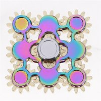 Wholesale Toys Metal Gears - Rainbow Nine Gear Fidget Spinner Colorful Ultimate Version Nine 9 Gear Hand spinner EDC Brass Tri-spinner Decompression Toys