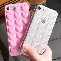 Wholesale Sweet Heart Case Iphone - Hot Cute 3D Korean Peach Heart Jelly Candy Color Sweet Love Lady Fundas Capa Soft TPU Phone Cases Cover For Iphone 7 7 Plus  Iphone 6 6s pl