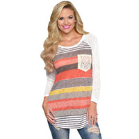 Wholesale Super Deals - Wholesale-Super Deal Women Raglans Baseball T Shirt Women Tops Stripes Lace Pocket O-neck Shirt Tops Long Sleeve Tops