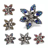 Wholesale Small Hair Claw Clip Rhinestone - 10pcs Crystal Diamante Hair Clip Claw Hair Grip Clamp Small Hair Jewelry Accessories