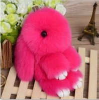 Wholesale 10 color Cute Rabbit Doll Key Chain Phone Bag Real Rex leather backpack strap Rabbit Hair Bags Car Pendant Hangings cm Key