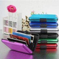Wholesale Magnetic Business Cards Wholesale - Aluminum Alloy Business ID Credit Card Holder Wallet Waterproof Anti-magnetic RFID Card Bags Purse Chirstmas Gifts CCA8359 1200pcs