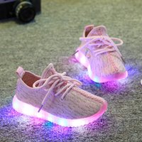 Wholesale Shoes For Children School - 2017 Children Shoes For Kids Light Up Shoes Boys Mesh Breathable Sport Led Sneakers Teenager Girls Running Shoes School Trainers