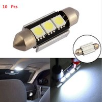 Wholesale C5w Smd - 10pcs 36mm 39mm C5W 3 SMD 5050 LED 3SMD White Blue red CANBUS Error Free Car License Plate lights Bulb Dome Festoon Lamps 12V 10X