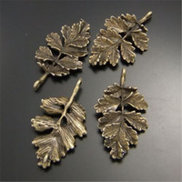 tons de jóia venda por atacado-Atacado-20PCS Antiqued Bronze Tone Alloy Jewel Retro 3D Natural Leaf Shape Pendant Encantos Artesanato Jóias Acessório 28 * 19mm 02377