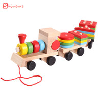 Wholesale Toddler Stacking Toys - Wholesale- Models& building toy train building Blocks Educational Kids Baby Wooden Solid Stacking Toddler Block Toy for Children gifts