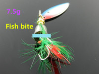 Wholesale Lead Spoons Fishing Lures - 5 Pack of Jigging hard fishing lure artificial bait wobbler lead fish metal spoon fishing lure with feather spinnerbait pesca fishing hooks