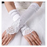 Wholesale Long Sequin Gloves - Ladies's Fingerless Lace & Sequins Satin Gloves Long lace Bride Spandex Satin Gloves for Wedding Party Costume