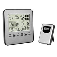 Wholesale weather station sensors resale online - Freeshipping PC LCD Weather Station Touch Buttons In outdoor Temperature Clock Humidity Digital clocks Wireless Sensor Thermometer