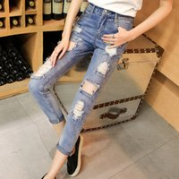 Wholesale Harem Jeans Sold - Wholesale- Hot selling Women's spring and summer bf hole jeans female harem ankle length jeans C9025#