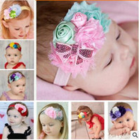 Wholesale Sequined Hair Bows - The new baby children's hair band Rose buds sequined bow hair band photo props