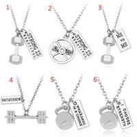 Wholesale Fitness Necklaces - Fitness Weightlifting jewelry bending Dumbbell barbell and ME VS ME charms pendant Necklace