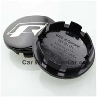 vw jetta rozeti toptan satış-Sıcak satış 4 ADET 65mm için vw R Siyah Alaşım Logosu Oto Tekerlek Merkezi Rozet için Passat B6 B7 CC Golf Jetta MK5 MK6 Tiguan araba tekerlek merkezi ...