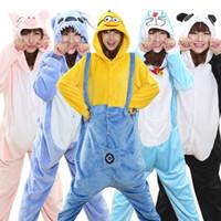 Wholesale Japanese Panda Costume - Wholesale Panda Stitch Unicorn Onesies Unisex Flannel Hoodie Cartoon Sleepwear Hooded Pajamas for Women Cute Animal Pajamas sets