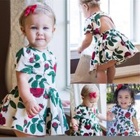 Wholesale Cotton Flower Print Underwear - Fashion newborn baby girl dress + underwear two-piece outfit rose cotton backless summer flower clothes lovely kid clothing tutu skirt 6M-4Y