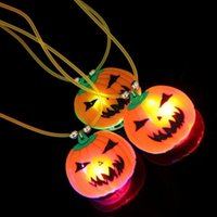 Wholesale Pumpkin Costume Women - Girl necklace Plastic Halloween Pumpkin Flashing Necklace Costume Party Props LED Lights women Halloween Pumpkin Necklace
