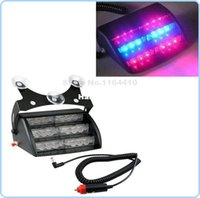 Wholesale Suction Cup Car Lights - 3*6 18 LED Car Emergency Vehicle Strobe Lights Windshields Dashboard Flash Warning with 3LED Suction Cups Red Bule Free Shipping