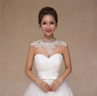 Wholesale Female Body Jewelry - bride lace wedding diamond necklace jewelry chain shoulder Korean wedding dress simple turtleneck female shoulder