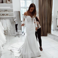 Wholesale Lace Long Sleeve Weding Dress - Off Shoulder 2018 Lace Mermaid Wedding Dresses Satin Court Train Backless Bridal Gown Appliques Weding Gowns Custom Made