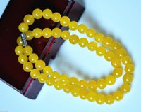 Wholesale Yellow Jade 8mm - PRETTY 8MM NATURAL YELLOW JADE GEMSTONE NECKLACE CHAIN 18inch