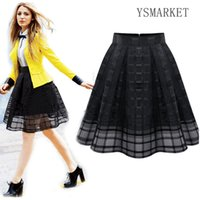 Wholesale Short Pleated Plaid Skirt - 2017 New Vintage Mesh Tulle Plaid Swing Skirts Organza Womens A line Mini Pleated Skirt Black Solid Casual Girl Short Skirt q511